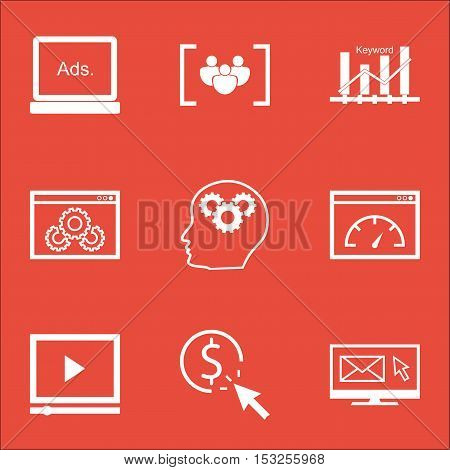 Set Of Marketing Icons On Ppc, Questionnaire And Newsletter Topics. Editable Vector Illustration. In