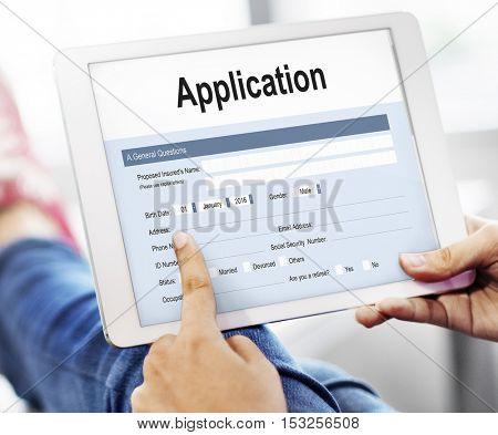 Application Form Employment Document Concept