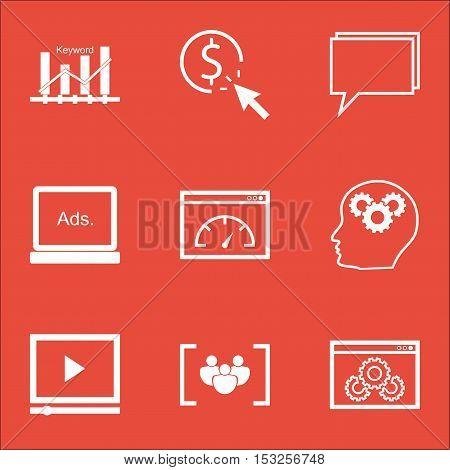 Set Of Advertising Icons On Video Player, Brain Process And Website Performance Topics. Editable Vec