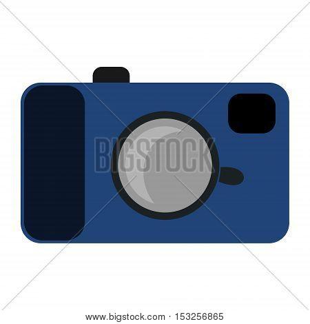 Retro camera prototype. Vintage childish style. Isolated vector illustration. Blue color.