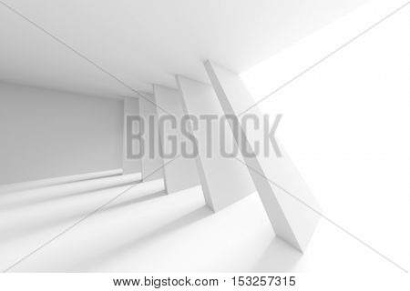White Building Construction. Abstract Futuristic Architecture Background. Minimal Office Interior Design. Empty Room with Window and Columns. Geometric Shapes Structure. 3d Render