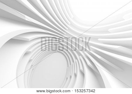 Abstract Architecture Background. White Circular Tunnel Building, 3d Illustration of Light Futuristic Hall. Minimal Technology Render