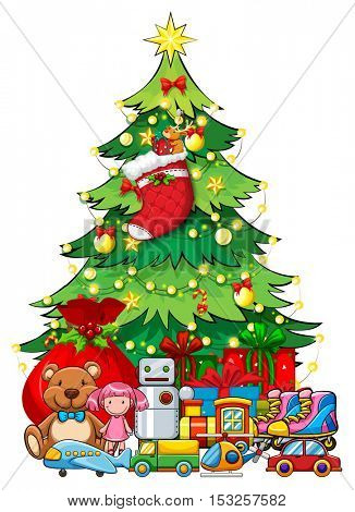 Many toys under Christmas tree illustration
