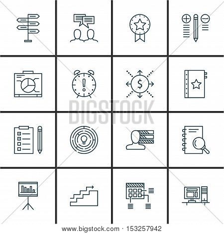Set Of Project Management Icons On Discussion, Computer And Present Badge Topics. Editable Vector Il