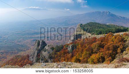 Panoramic landscape on mountain pasture Demerdzhi Crimea Ukraine.