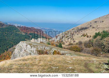 Beautiful mountains landscape at autumn season - mountain pasture Demerdzhi Crimea Ukraine.