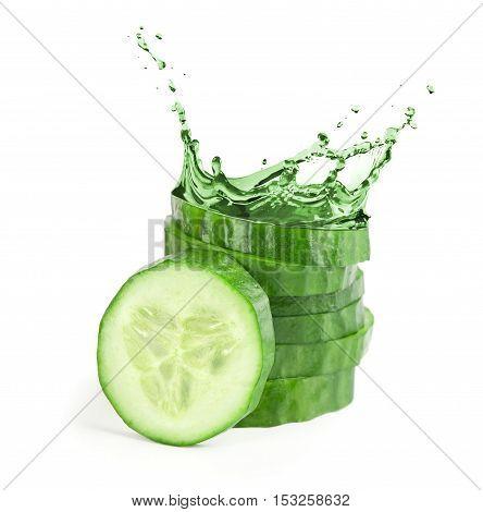 Fresh Cucumber Slices With Water Splash.