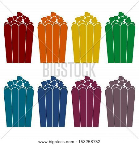 Popcorn package bag icons set on white background