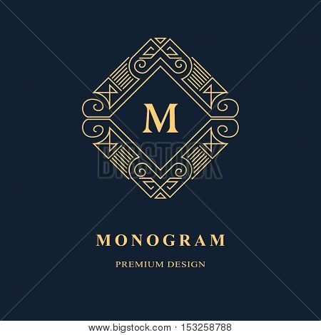Line graphics monogram. Elegant art logo design. Emblem. Graceful template. Letter M. Business sign identity for Restaurant Royalty Boutique Cafe Hotel Heraldic Jewelry Fashion. Vector element