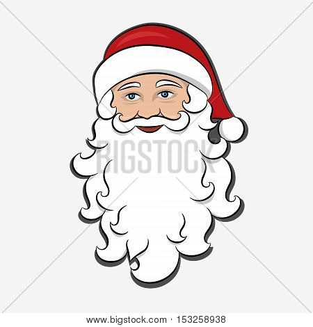 Santa Claus isolated. Cartoon Character Merry Christmas. Holiday clipart. Drawn Festive element for design of Greeting card invitation brochure flyer. Vector Illustration