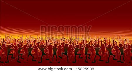 Crowd of happy cartoon people(disco party )- vector variant id=47574361
