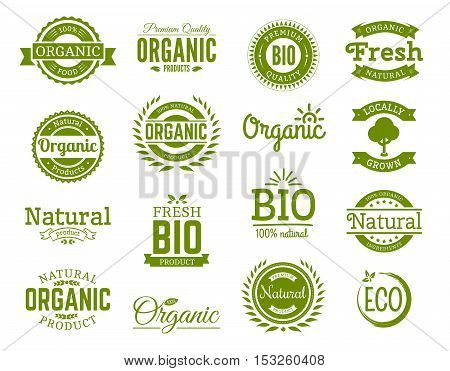 Retro style set of 100% bio natural organic eco healthy premium quality food labels. Logo templates with floral and vintage elements in green color for identity packaging. Set of vector badges.