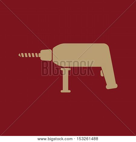 The drill icon. Perforator symbol. Flat Vector illustration