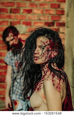 Zombie Girl And Bearded Man