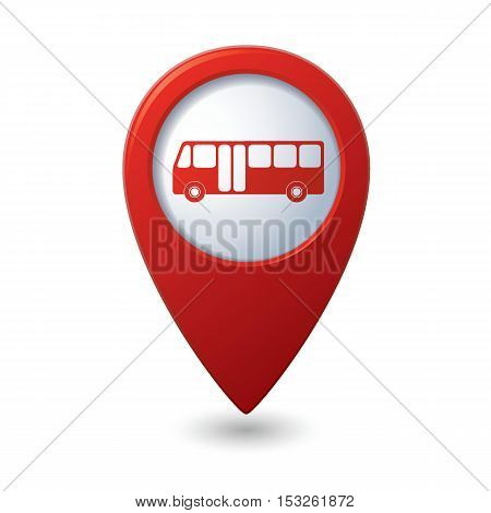 Map pointer with bus icon. Vector illustration