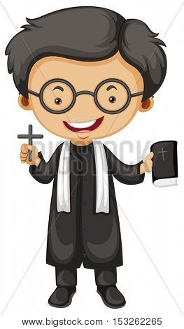 Priest holding bible and cross illustration