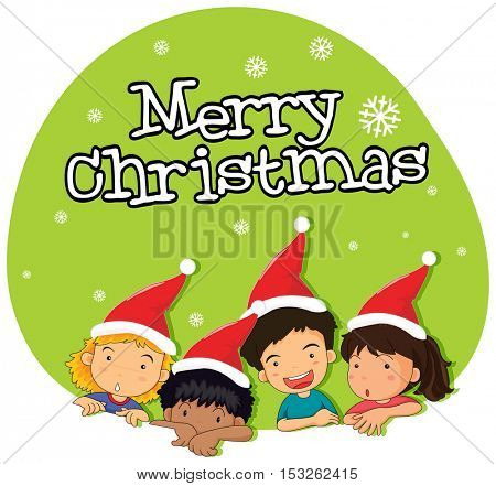 Christmas theme with kids in red hat illustration