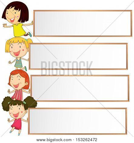 Banner design with four kids illustration
