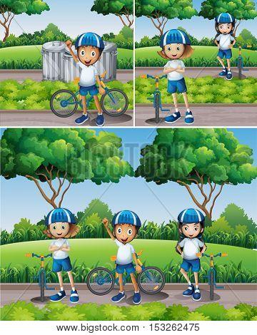 Boys and girls riding bike in garden illustration