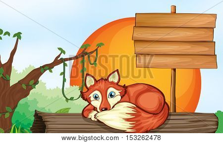 Wooden sign and fox on log illustration
