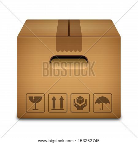 Cardboard box icon with packaging symbols isolated on white background vector illustration
