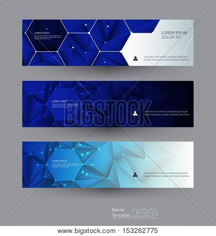 Vector abstract banners set with polygonal Triangle pattern shape and molecule structure. Low poly banner with connecting dots and lines. Polygon vector background for web banner template or brochure