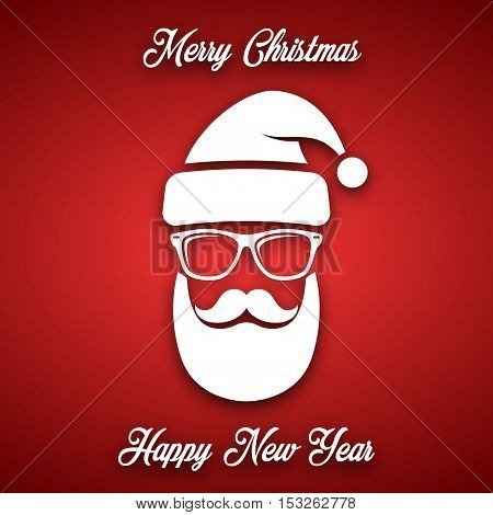 White silhouette of Santa Claus with a cool beard mustache and glasses on a red background