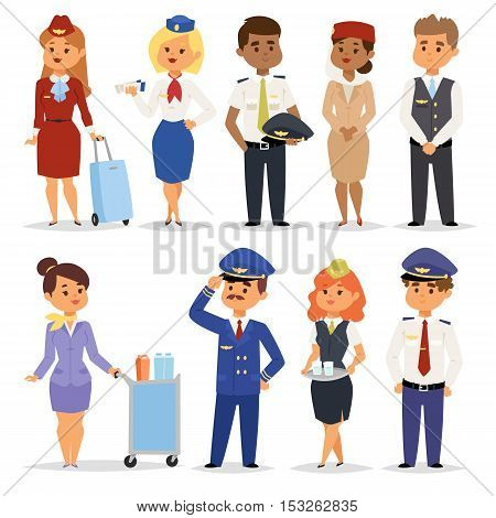Set of officers and flight pilots flight attendants. Stewardesses pilots flight attendants isolated pilot and air hostess flight attendant. Vector pilots flight attendants captain professional.
