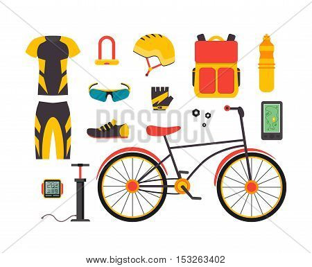 Bicycle and Accessories Set. Sportive Lifestyle. Flat Design Style. Vector illustration
