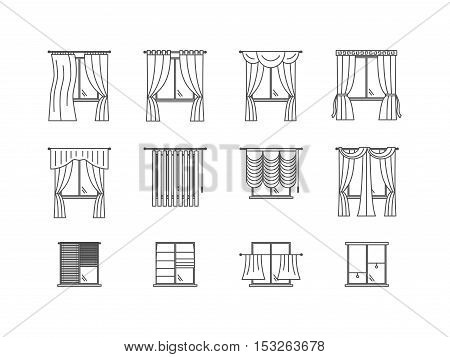 Curtains Types Thin Line Set Pixel Perfect Art. Material Design. Vector illustration