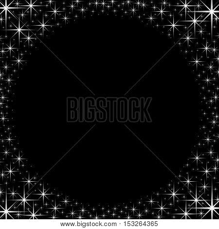 Shiny star border frame. Vector sparkle christmas glitter frame with stars