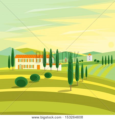 Tuscany Rural Landscape with Houses. Flat Design Style. Vector illustration