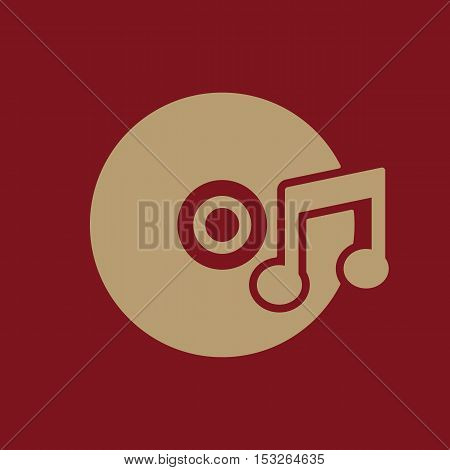 The music icon. Disc symbol. Flat Vector illustration