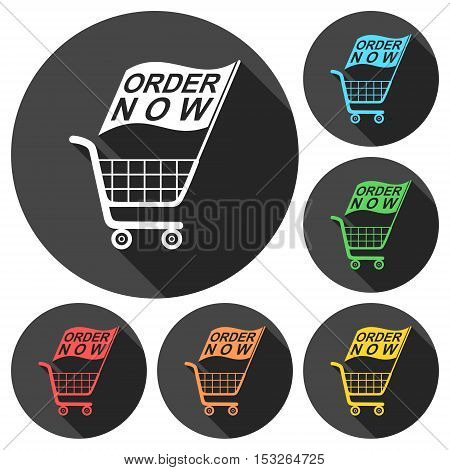 Order Now Flag Shopping Cart icons set with long shadow