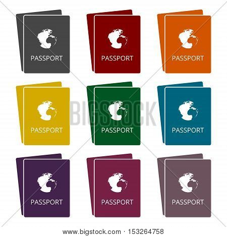 Simple Passport icons set on white background