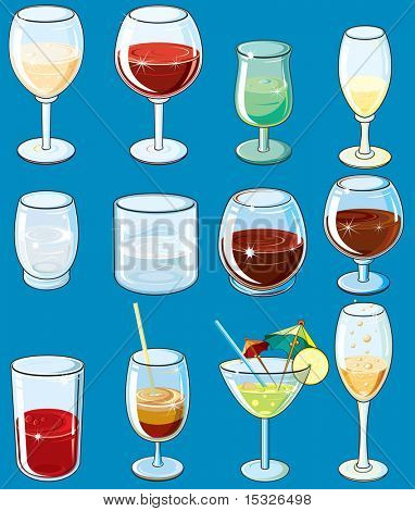 Icons with alcohol beverages and drinks  - isolated vector glasses with wine, champagne, vodka, cognac, juice, cocktails etc ( easy editable colors-without gradients )