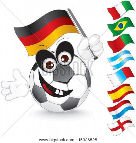 Funny soccer ball with various flags for hand