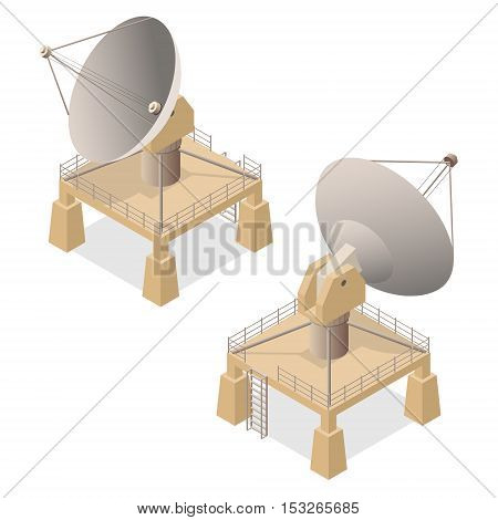 Satellite Dish Antenna or Radar Isometric View for Transmit and Reception Data. Vector illustration