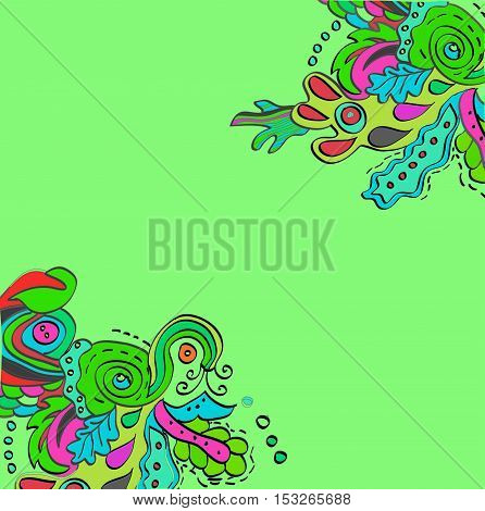 Raster colored abstract pattern in green colors. Spring theme.
