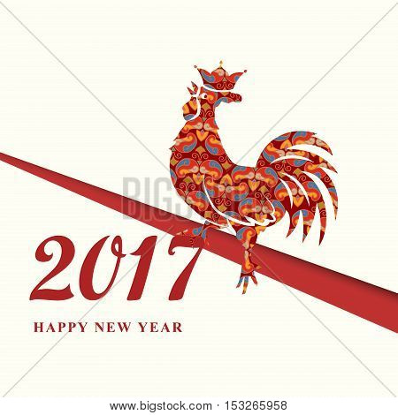 2017 Chinese New Year of the Red Rooster with ornament. Silhouette of red with crown. The zodiac symbol. Elements for design greeting card and invitation brochure flyer. Vector illustration