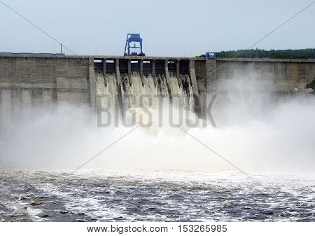 emergency water discharge power on the Bureya River in Russia