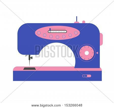 Colorful Electric Sewing Machine. Flat Design Style. Vector illustration