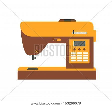 Electric Sewing Machine for Home and Factory. Flat Design Style. Vector illustration