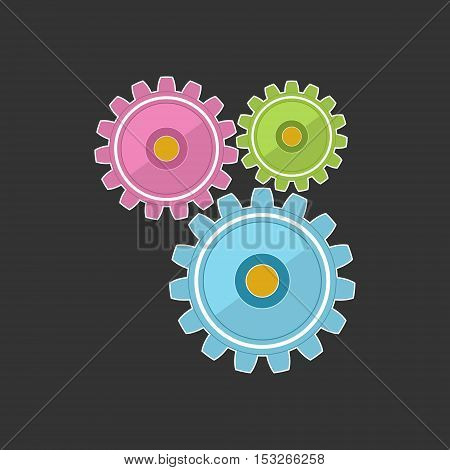 Gears Isolated on Gray Background, Teamwork, Team Effort , Vector Illustration