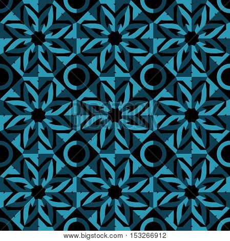 Beautiful seamless pattern, vintage texture. Volumetric pattern. Decorative elements. Arabic, Indian. Stylized flowers. Flower circular background. Dark geometric pattern. Mosaic.Volumetric background