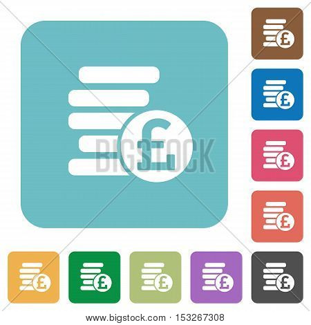 Pound coins flat icons on color rounded square backgrounds