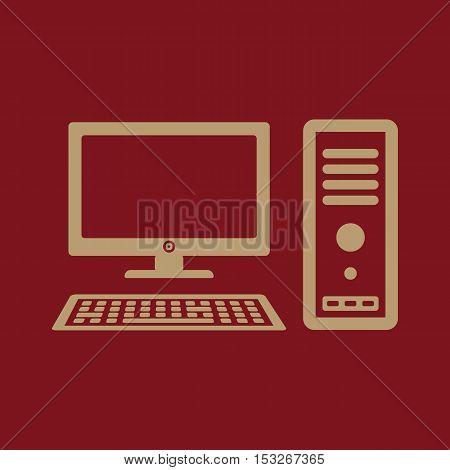 The computer icon. PC symbol. Flat Vector illustration