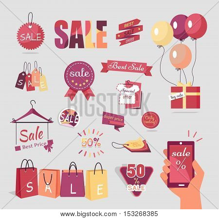 Collection of sale elements. Price tags retro color design. Set of advertising coupon, vector badges and labels, stickers and ribbons. Vintage elements for design. Isolated vector illustration in flat