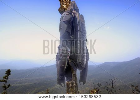 protection motorcycle outfit hanging on a tree on a background of mountains a journey on a motorcycle