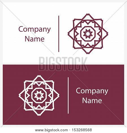 Beautiful white linear circular logo. Logotype for antique boutique, sweets. Company mark, emblem, element. Simple mandala. Business, invitations. Kaleidoscope big bud. Abstract decorative flower.